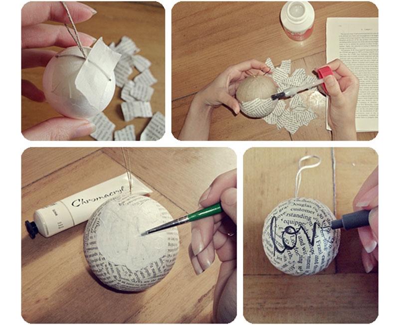 Изготовление новогоднего шара из картонной заготовки