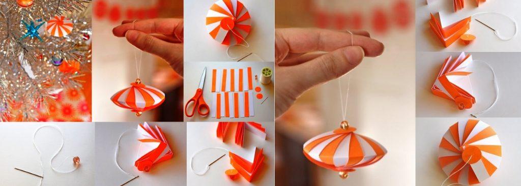 Изготовление елочного шара из цветной бумаги