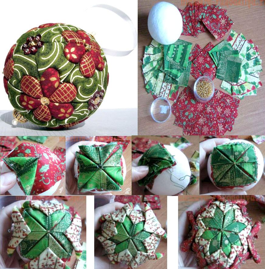 Новогодние шары, украшенные тканью в стиле пэчворк