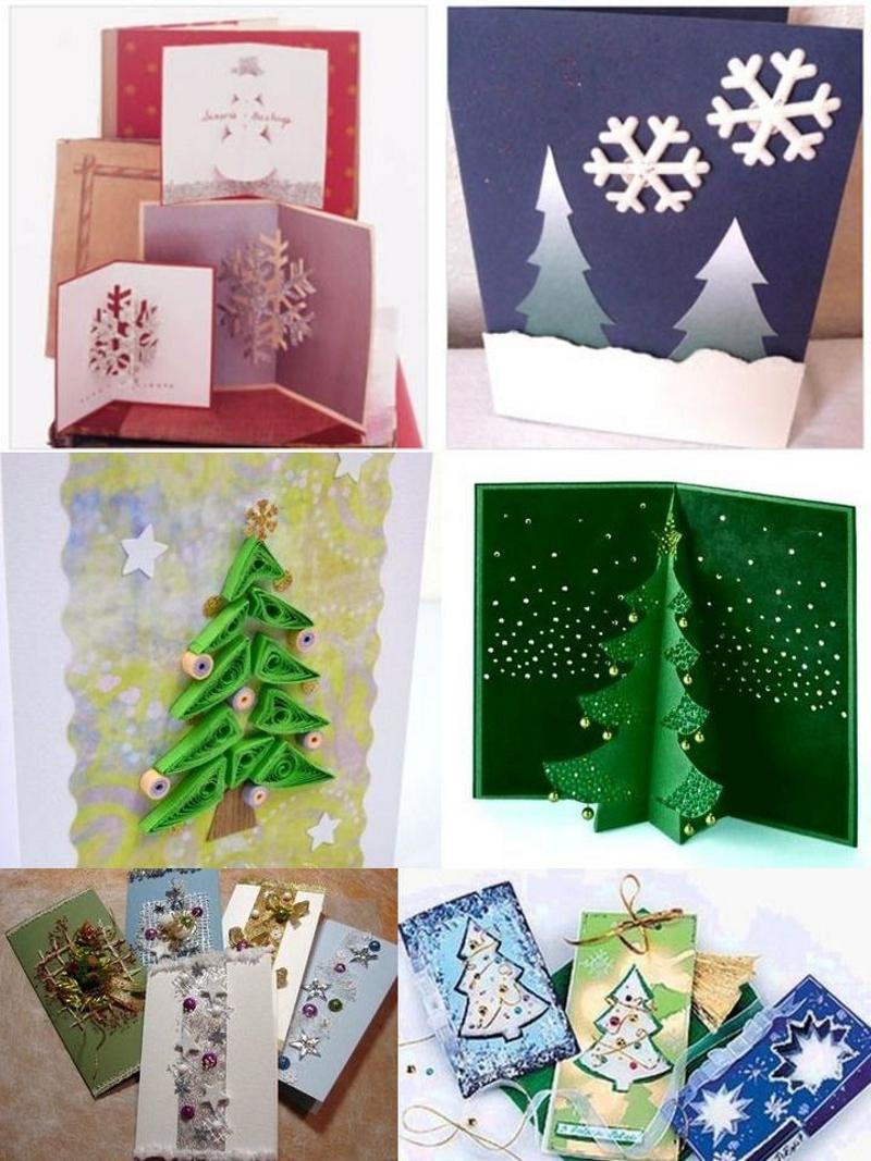 Варианты объемных новогодних открыток