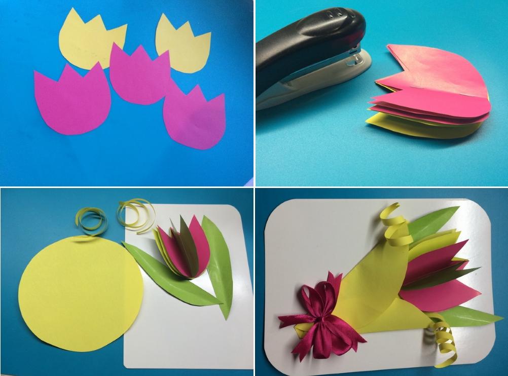 Объемная открытка с букетом тюльпанов для мамы