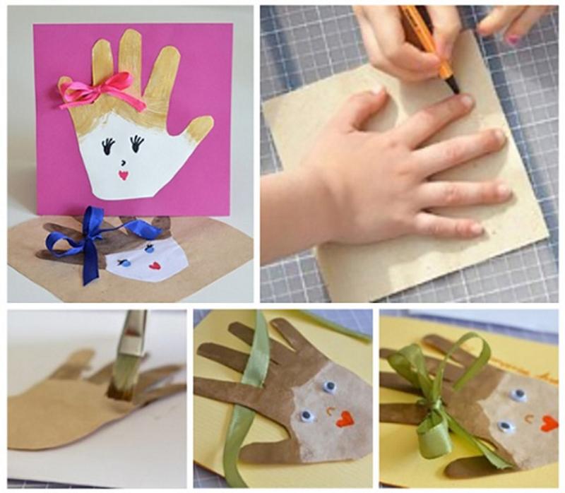 Изготовление открытки своими руками из ладошек