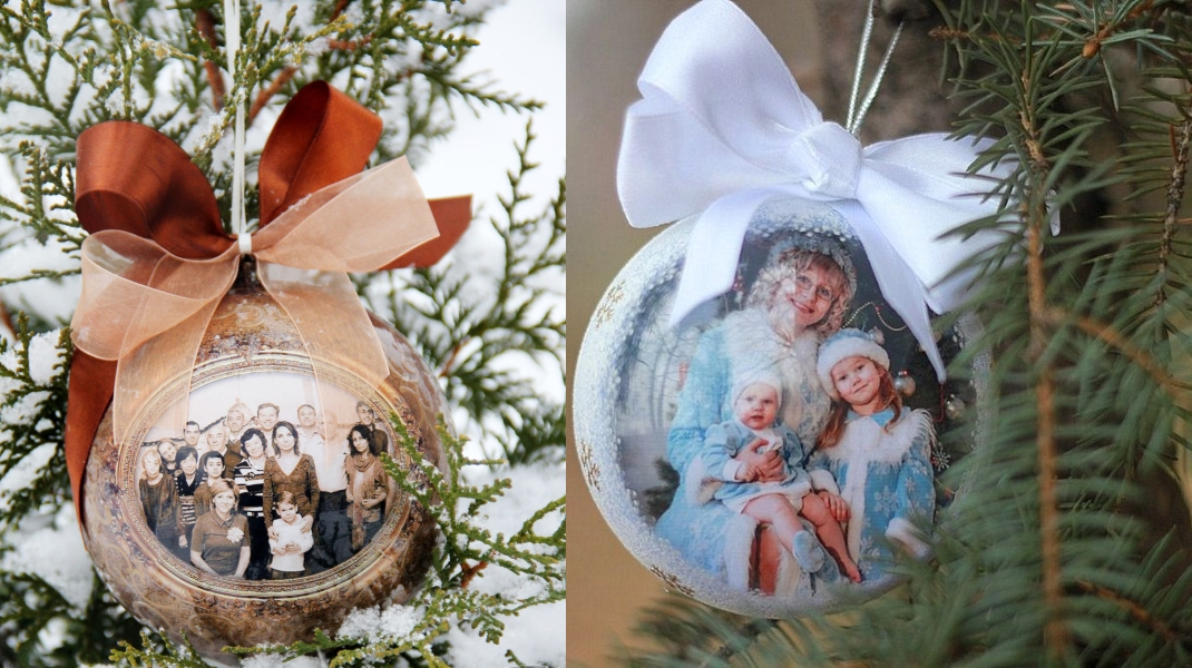 Новогодние шарики с фотографиями