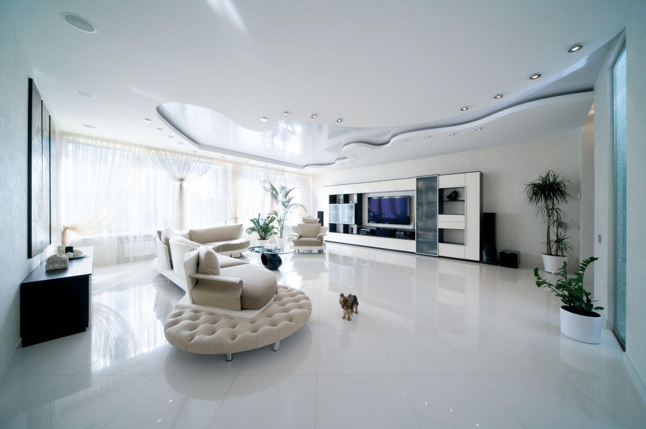 Разноуровневый натяжной потолок необычной формы
