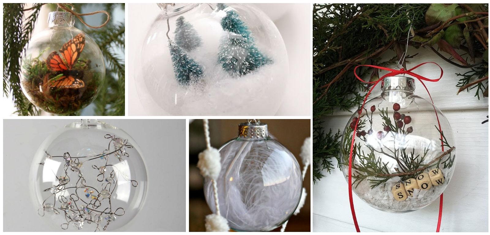 Украшение прозрачных новогодних шаров изнутри