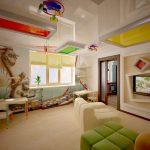 Фото 69: Натяжной потолок в детской с разноцветными вставками