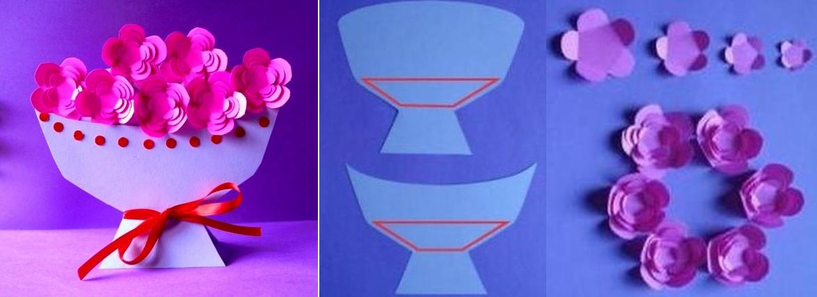 Изготовление вазы с цветами из бумаги