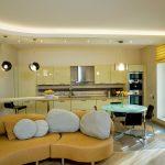 Фото 71: Выделение зоны кухни с помощью натяжного потолка, гипсокартона и освещения