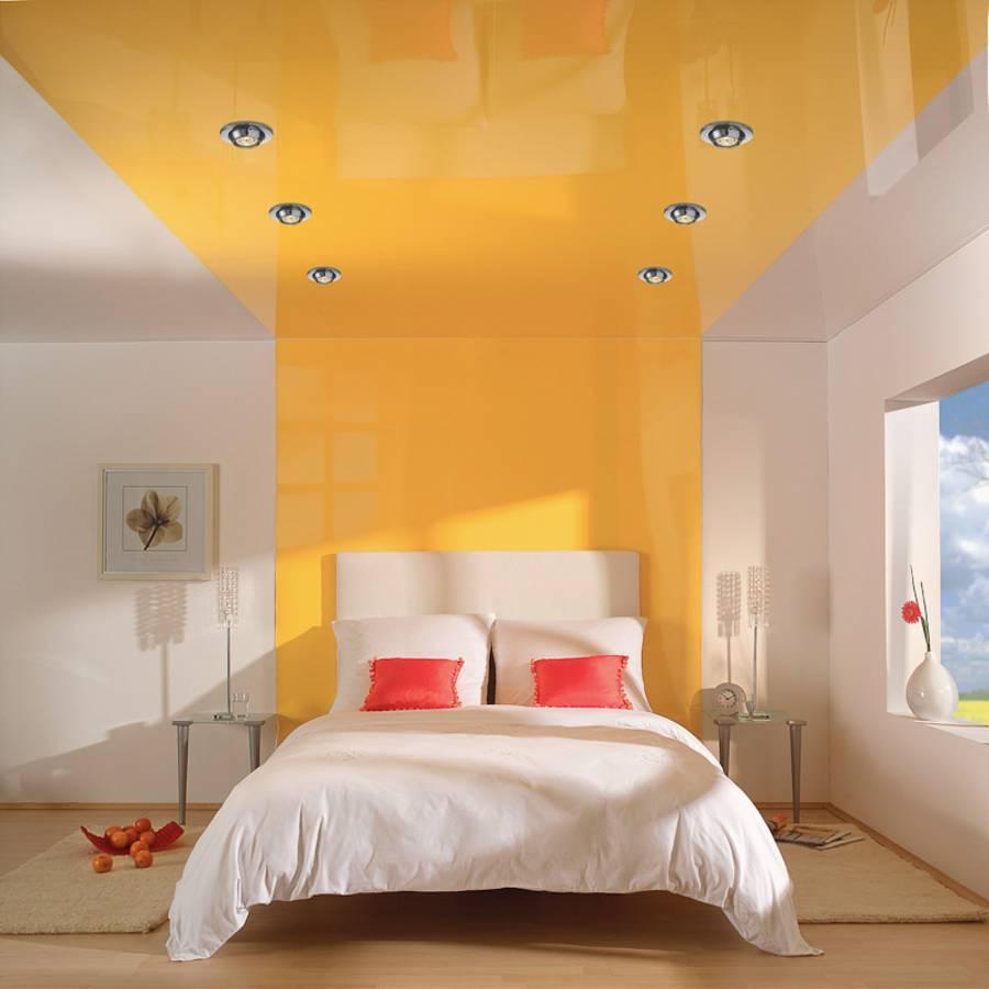 Дизайн цвета потолка в спальне