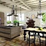 Дизайн потолка на кухне (22)