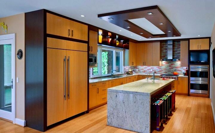 Дизайн потолка на кухне (4)