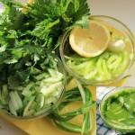 Компоненты для салата из кинзы