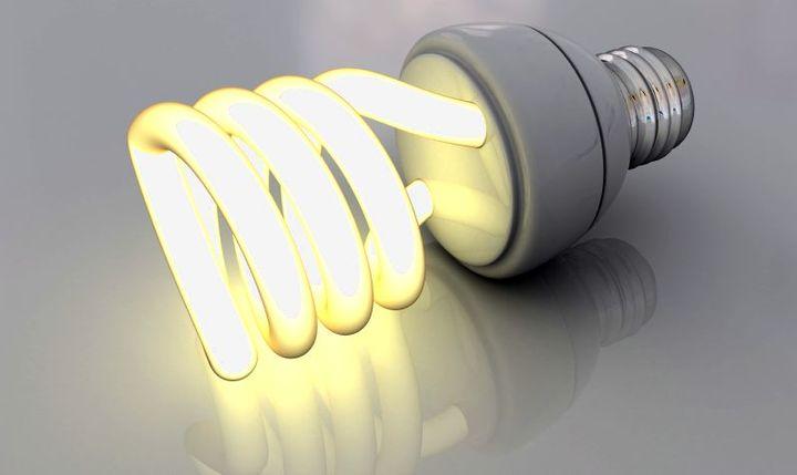 Свечение энергосберегающей лампы