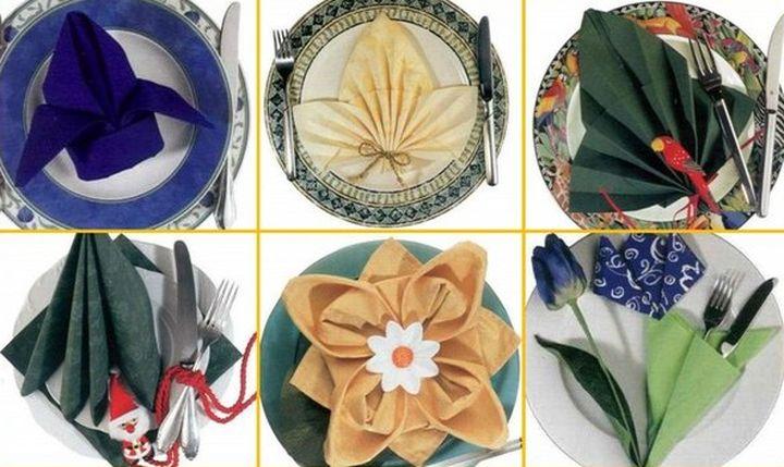 Декоративное оформление салфеток для праздничного стола
