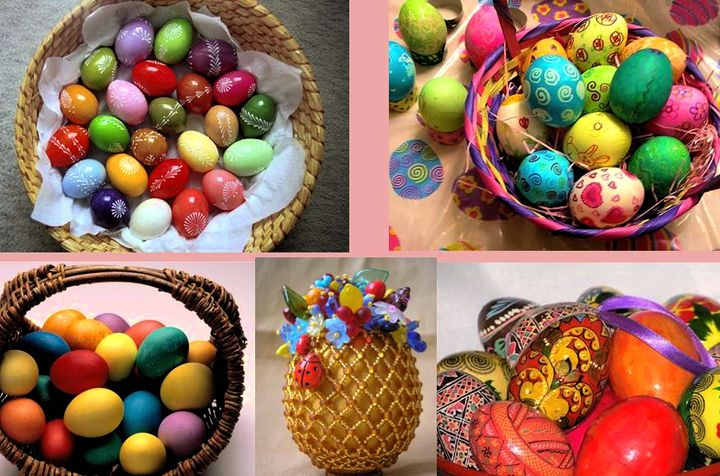 Разнообразие окрашенных яиц