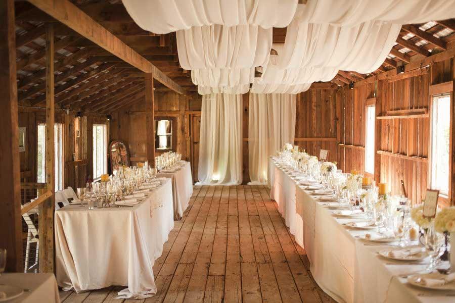 Декорирование потолка тканью для свадьбы