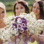 Букеты подружек невесты с гипсофилой