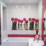 Фото 57: Цветочная фотоплитка в ванной