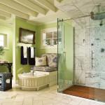 Фото 14: Дизайн ванны в зеленых тонах