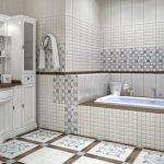 Фото 93: Сочетание большой плитки и мозаики в ванной