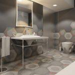 Фото 77: Крупная плитка сотами в ванной