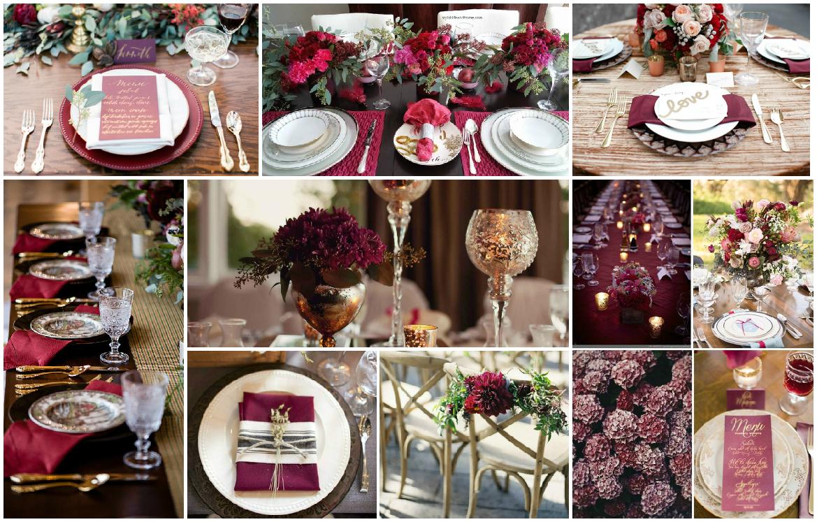 Оформление свадьбы в тонах Марсала