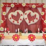 Фото 18: Оформление стола жениха с невестой шарами