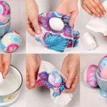 Фото 49: Окрашивание яиц тканью к Пасхе