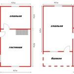 Проект двухэтажного дома 8x8