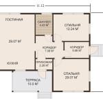 Фото 14: План одноэтажного дома 11.12х9