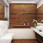 Фото 51: Плитка под дерево в интерьере ванной
