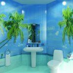 Фото 62: Тропическое оформление плитки в ванной