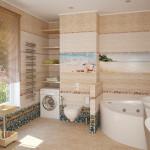 Фото 32: композиция из плитки с рисунков в ванной