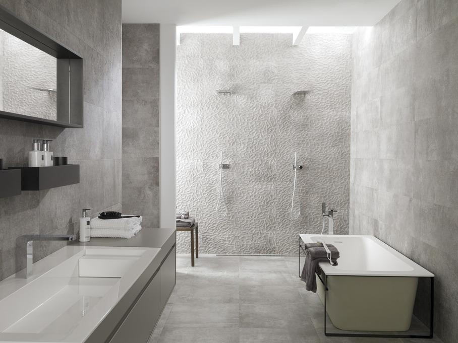 Цементная плитка в ванной