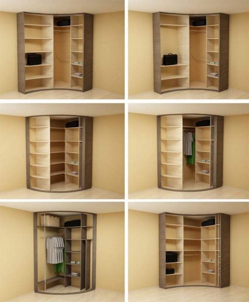 Варианты внутренних конструкций радиусных шкафов