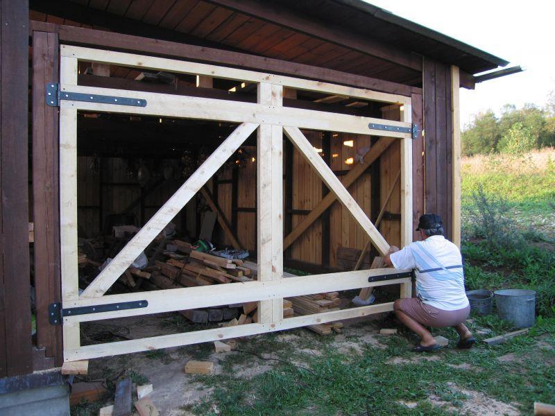 Фото деревянные ворота своими руками