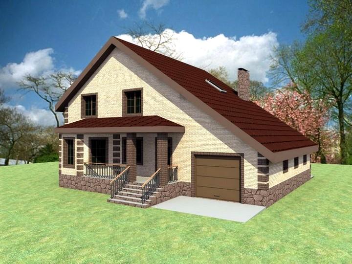 Проект дома с гаражом и мансардой (2)