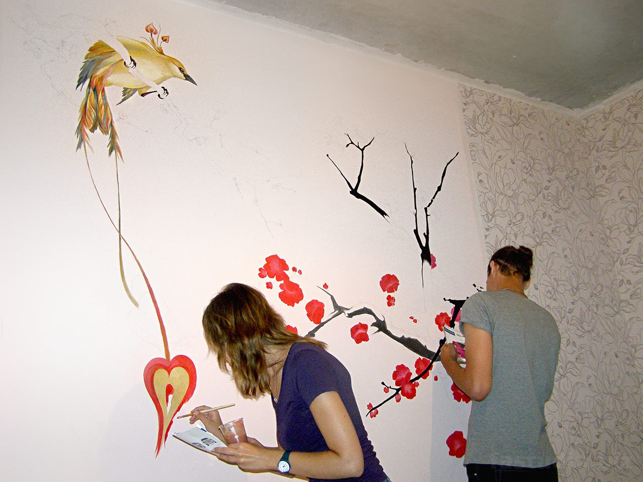 Рисунки на стенах своими руками видео