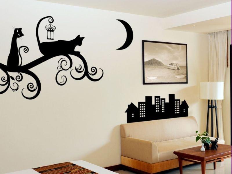 Рисунок кошек на стене своими руками