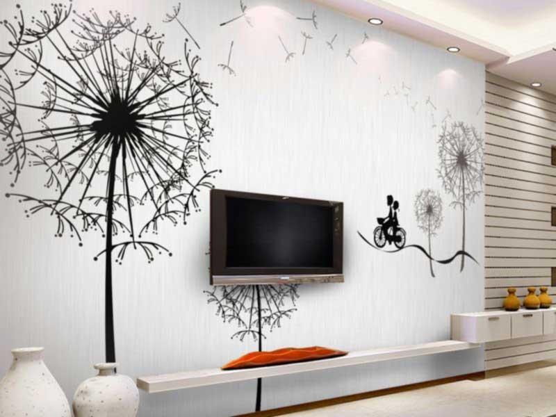 Рисунок одуванчика на стене