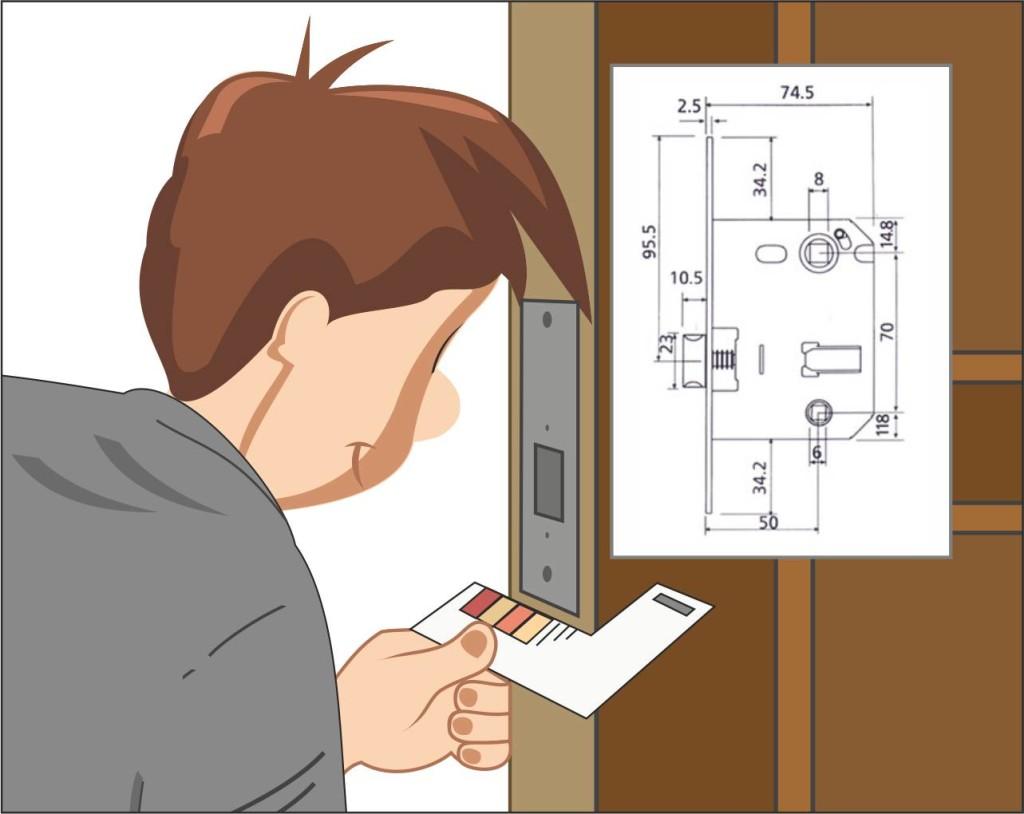 Схема установки замка на входную металлическую дверь