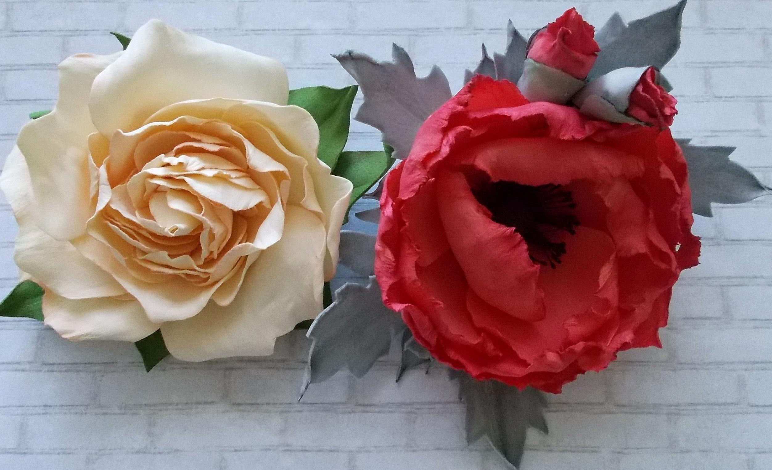 Роза и мак из фоамирана