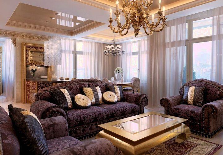 Пурпурный цвет в оформлении классической гостиной