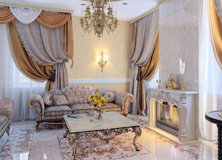 Продуманный дизайн гостиной в классическом стиле