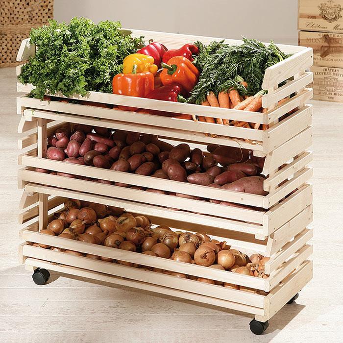 Трехярусный стеллаж для хранения овощей