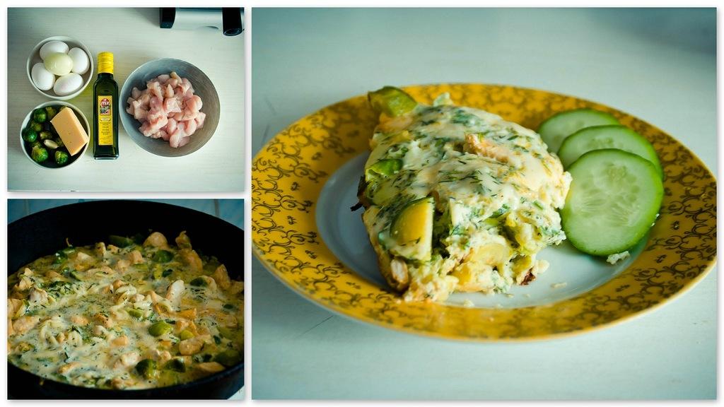 Брюссельская капуста с мясом и омлетом