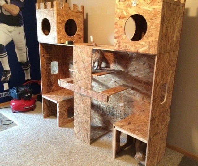 Дом для кота из фанеры своими руками 16