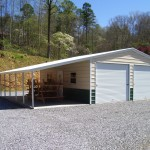 Фото 23: Металлический гараж с навесом
