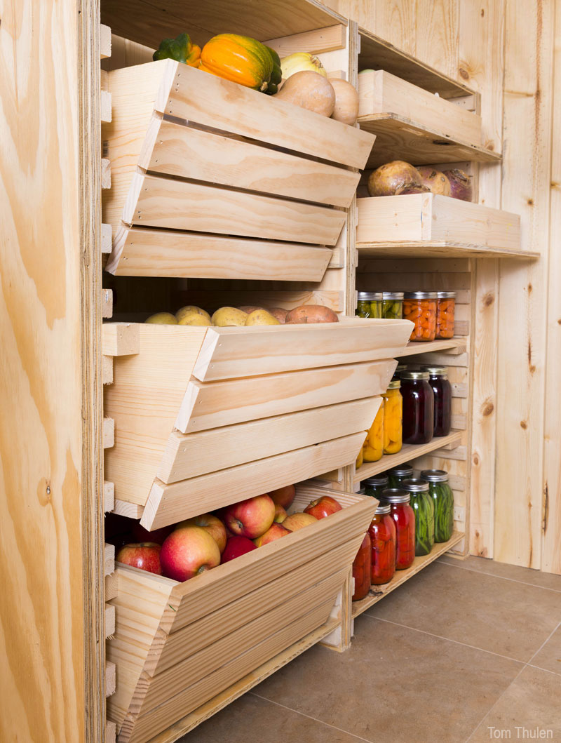 Откидные ящики для хранения овощей на балконе