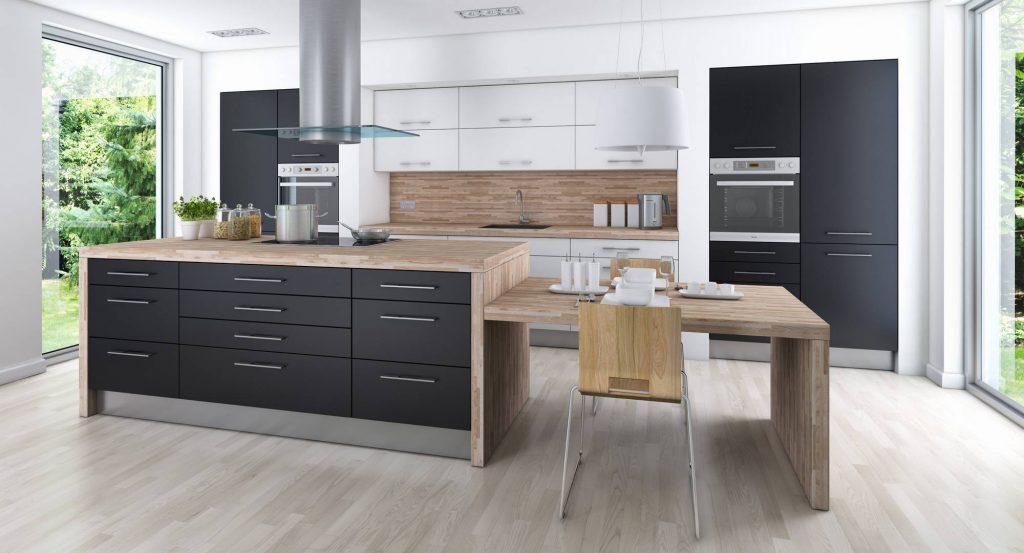 Черная кухня с базовыми цветами